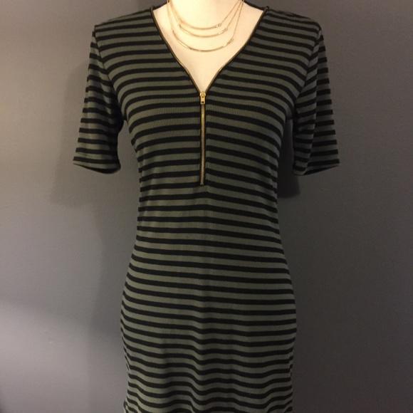 8ee9a6a3b1c NWT rue21 Green Black Striped Sweater Dress